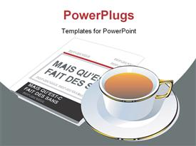 PowerPoint template displaying a cup of tea with a newspaper in the background