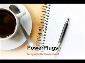 PowerPoint template displaying pen notebook and cup of coffee on the desk in the background.