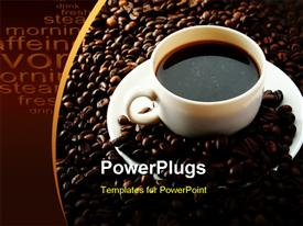 PowerPoint template displaying white cup of coffee on saucer with coffee beans on chocolate background