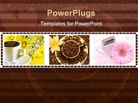 Coffee cup with beans and flower powerpoint theme