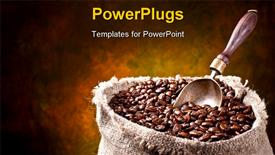 Sack of coffee beans and scoop. On a dark background template for powerpoint