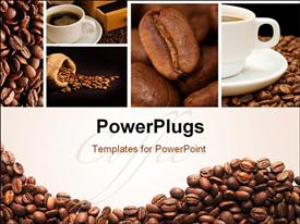 Collage from fragrant coffee close up macro powerpoint design layout