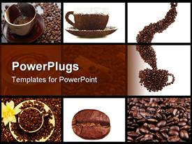 Red cup of coffee on coffee beans with cinnamon and white rose  bake powerpoint template