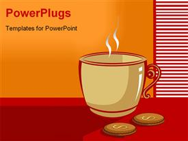 Cup of coffee in a table with dollar biscuit powerpoint theme