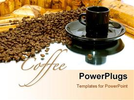 PowerPoint template displaying a black cup and a saucer with coffee seeds beside them
