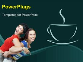 PowerPoint template displaying two happy ladies exercising back to back with coffee depiction