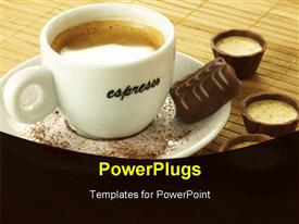PowerPoint template displaying a cup of coffee on a white saucer and a chocolate bar