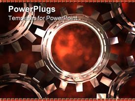 PowerPoint template displaying mechanical gear made of five 3D connected cogs on dark background