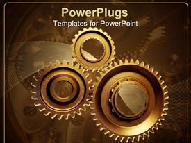 Three steel cogwheels together powerpoint theme