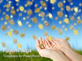 PowerPoint template displaying coins falling to hands over blue sky background