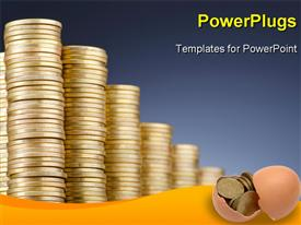 PowerPoint template displaying golden coins in high stacks