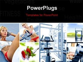 PowerPoint template displaying a girl doing exercise with exercise machine in background