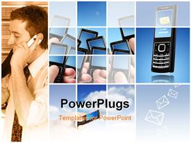 Collage. Communication conceptual image. Mobile phones over blue sky powerpoint theme