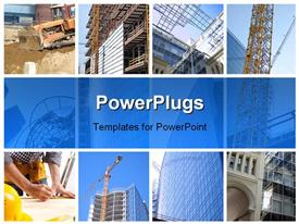 Collage of construction of modern skyscrapers and building crane powerpoint template