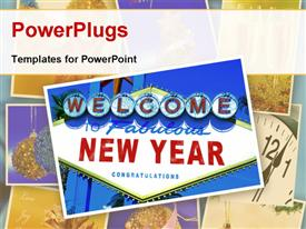 PowerPoint template displaying a sign of happy new year with a white background