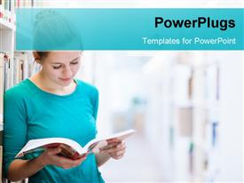 Female college student in a library powerpoint theme