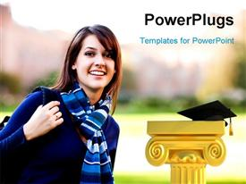 PowerPoint template displaying a beautiful girl with the graduation cap