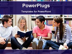 Group of college students at the library looking happy template for powerpoint