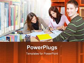 PowerPoint template displaying three students in study group inside library with boy smiling