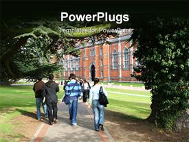 PowerPoint template displaying group of students walking to university building