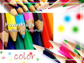PowerPoint template displaying colored pencils shown at different angles with word color, art, creativity