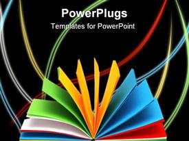 PowerPoint template displaying notebook with colored paper fanned open on black background with colored curved lines