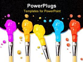PowerPoint template displaying bristle brushes full of different colored paints on white in the background.