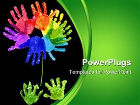 PowerPoint template displaying flower made out of children's hand print's using rainbow color's in the background.