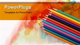 PowerPoint template displaying color depiction of a set of pencils on watercolor