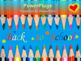 Concept of back to school many crayons powerpoint design layout