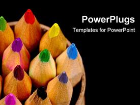 Arrangement of color pencils presentation background