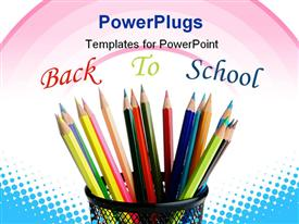 PowerPoint template displaying color pencils around heart