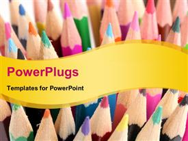 PowerPoint template displaying color pencils close-up