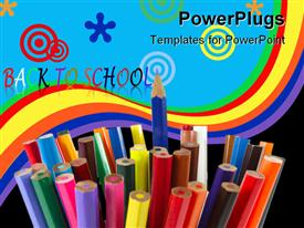 PowerPoint template displaying colored pencils depiction on the white background