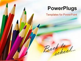 PowerPoint template displaying colored pencils in glass