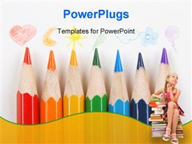 PowerPoint template displaying crayons with drawings on a white background