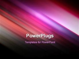 PowerPoint template displaying futuristic technology abstract stripe background design in purple and pink