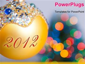 PowerPoint template displaying christmas theme: colorful Christmas ball with future year 2012
