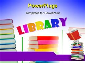 PowerPoint template displaying collage of colorful books' stacks on the white background