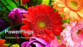 PowerPoint template displaying close up shot of a very abundant spring bouquet.