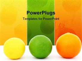 Colorful fruit, a yellow lemon, a green lime and an red colored orange powerpoint template