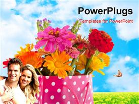 PowerPoint template displaying colorful garden bouquet in cheerful gift bag