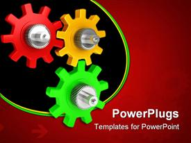 PowerPoint template displaying red, yellow, green and silver gears on red background