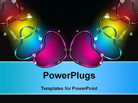 PowerPoint template displaying colorful glossy an shiny heart shapes on black background, can be use as banner, flyer or poster