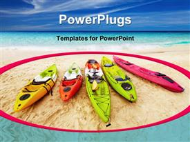 PowerPoint template displaying five colorful kayaks on beach sand with blue cloudy sky