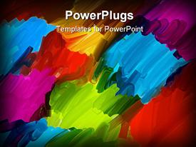 PowerPoint template displaying abstract oil brush art background in blue red orange purple green