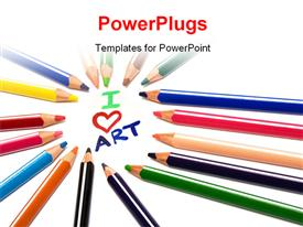 PowerPoint template displaying beautiful color pencils on a white background