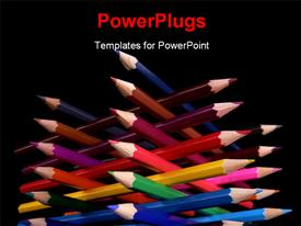PowerPoint template displaying bottom view of colored pencils tower isolated over black background