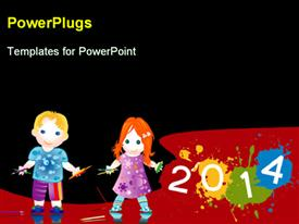 PowerPoint template displaying learning depiction with two little kids playing with crayons