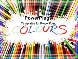PowerPoint template displaying colored Pencils Border, and Colors write
